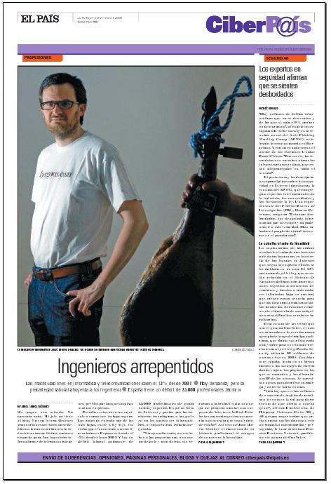 Jose María, en la portada de el CiberPais