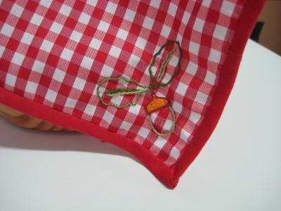 Detalle en el mantel para cubrir el jamón