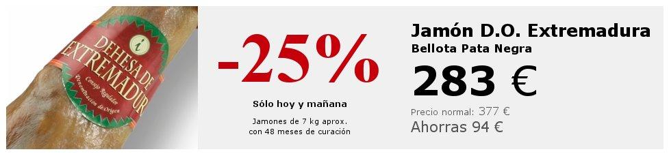 Banner promocional de la oferta 25% descuento en jamón D.O. Extremadura