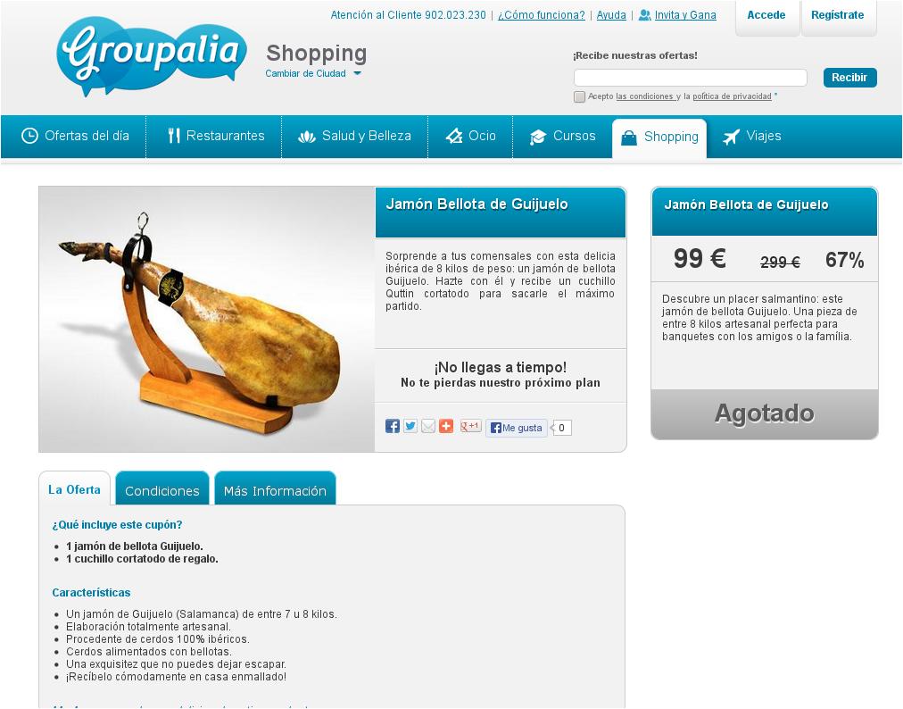 Página en Groupalia con la oferta de jamón 100% ibérico bellota