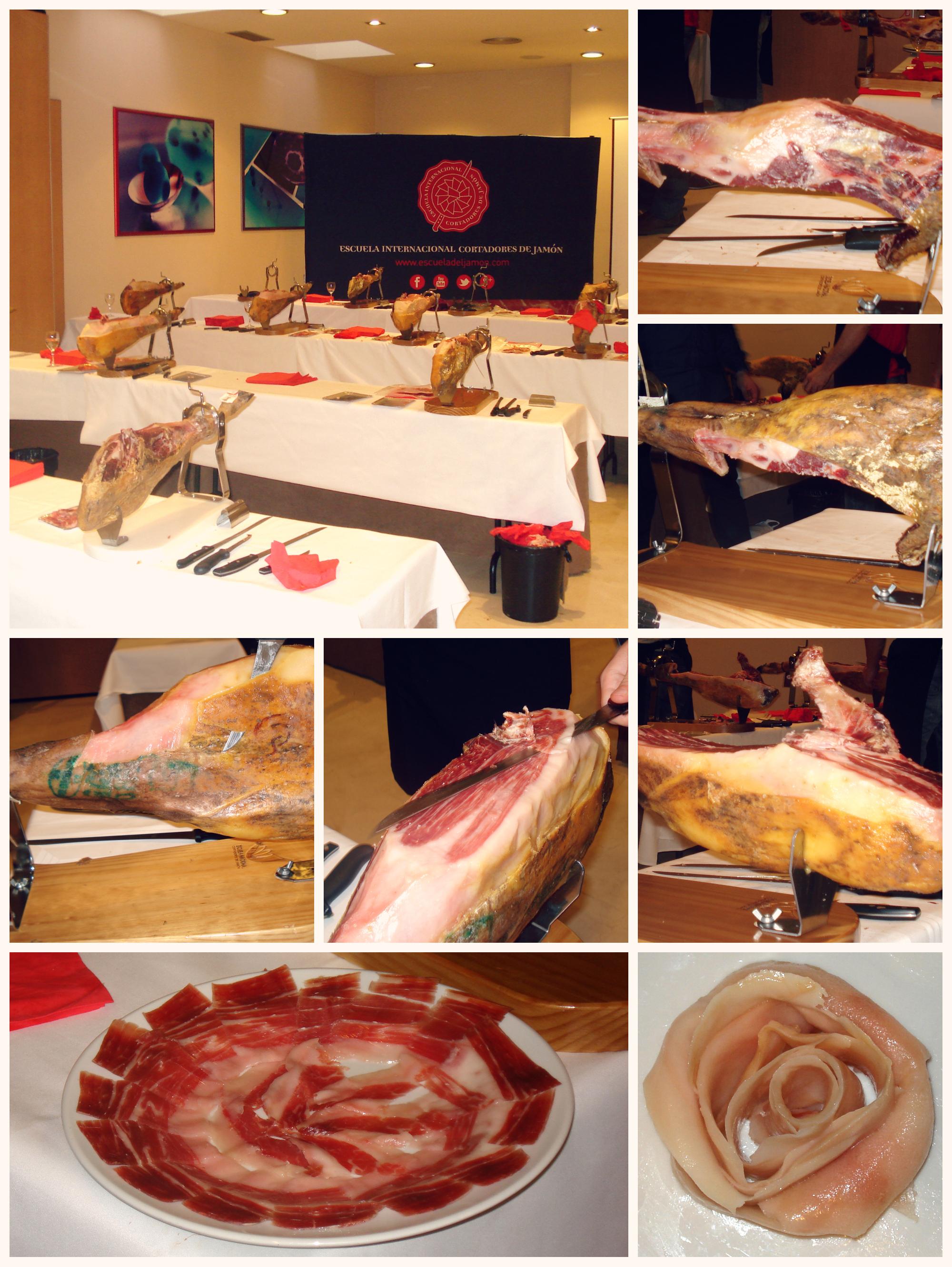 Corte profesional de un jamón ibérico y presentación en el plato
