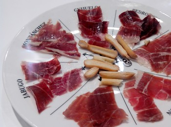 Pata negra ham slices on plate