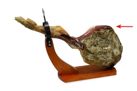 Corte de la maza de un jamón serrano