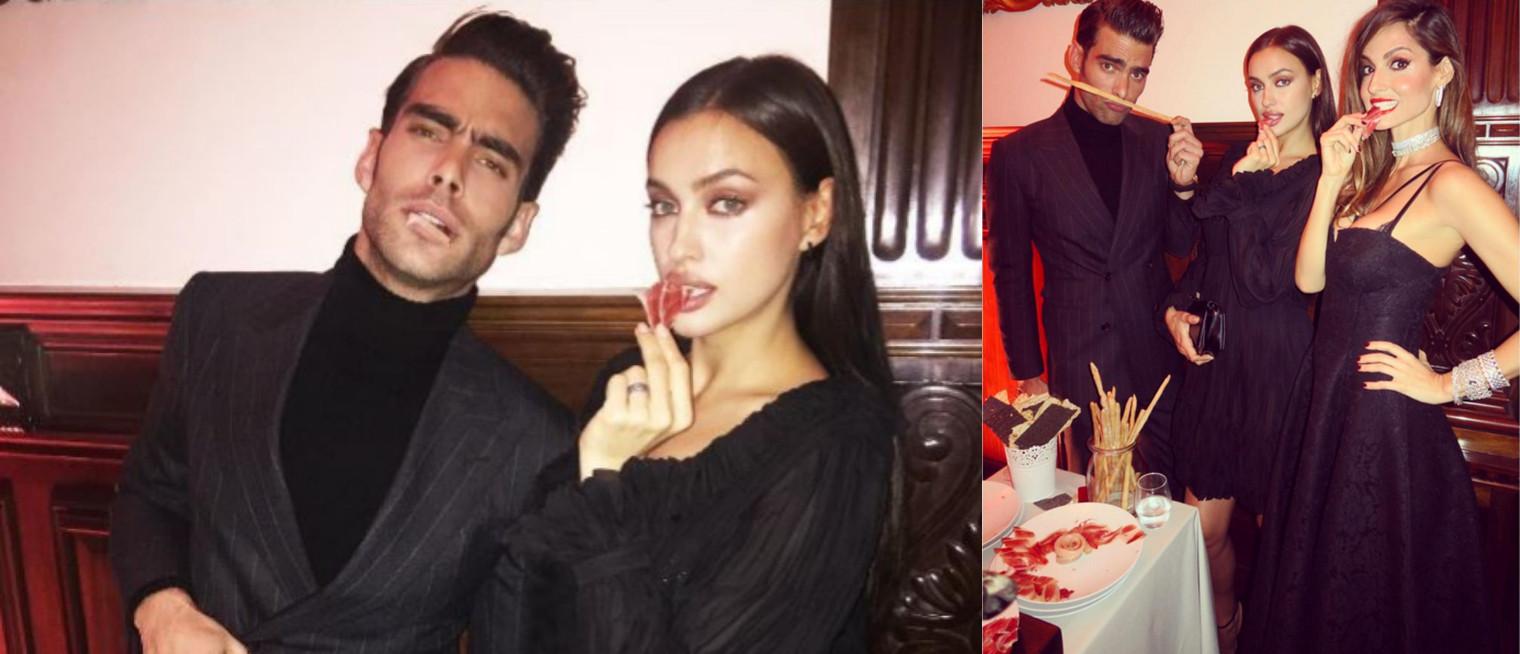 Los modelos Jon Kortajarena, Irina Shayk y Ariadna Artiles, jamón y jamonas respectivamente, comiendo ídem. Fuente: elmundo.com