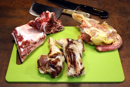 Beef bone and ribs, ham bones and chicken carcass