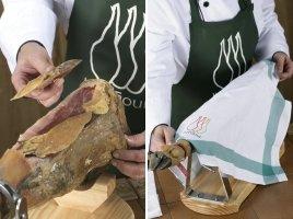 Secuencia que indica cómo tapar un jamón para su conservación